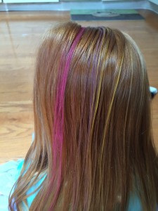 Finished Hair Chalk Application, Quick and Easy!  See next photo for what it looks like after brushing.